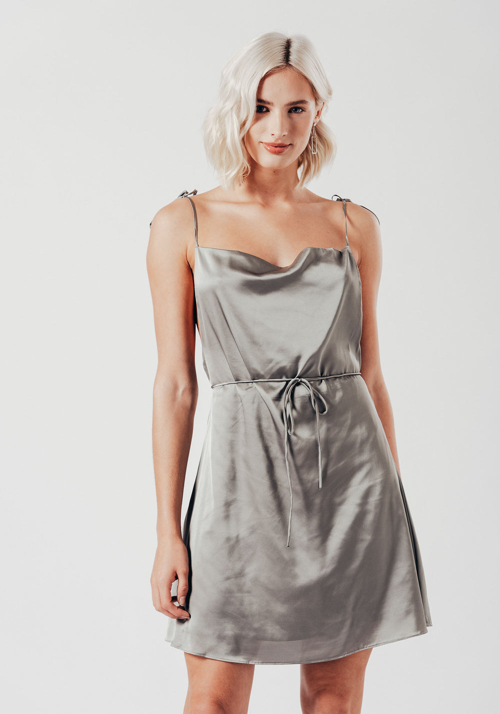 Grey Satin Mini Dress