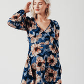 Blossom Sleeve Mini Dress in Blue Floral Print