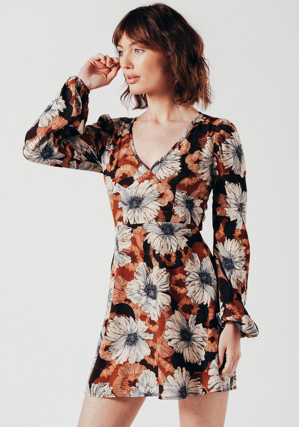 Blossom Sleeve Mini Dress in Brown Floral Print
