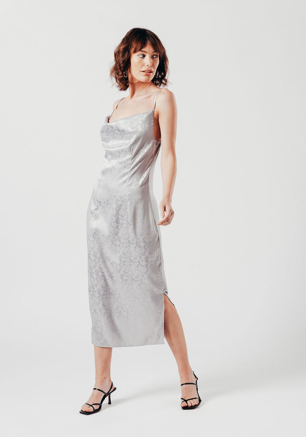 Cowl Neck Dress with Side Slit in Grey