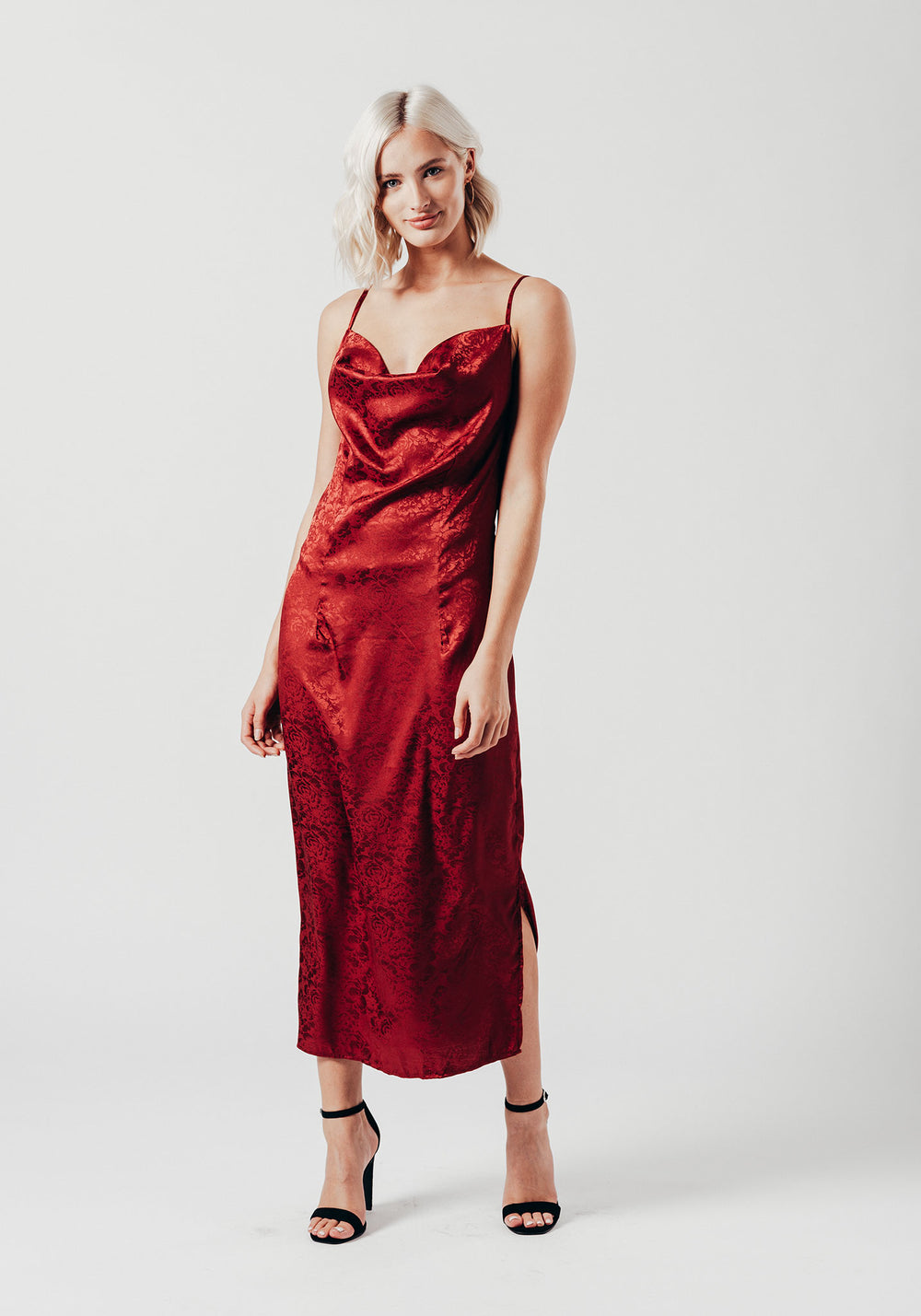 Cowl Neck Slip Dress with Side Slit in Wine Red
