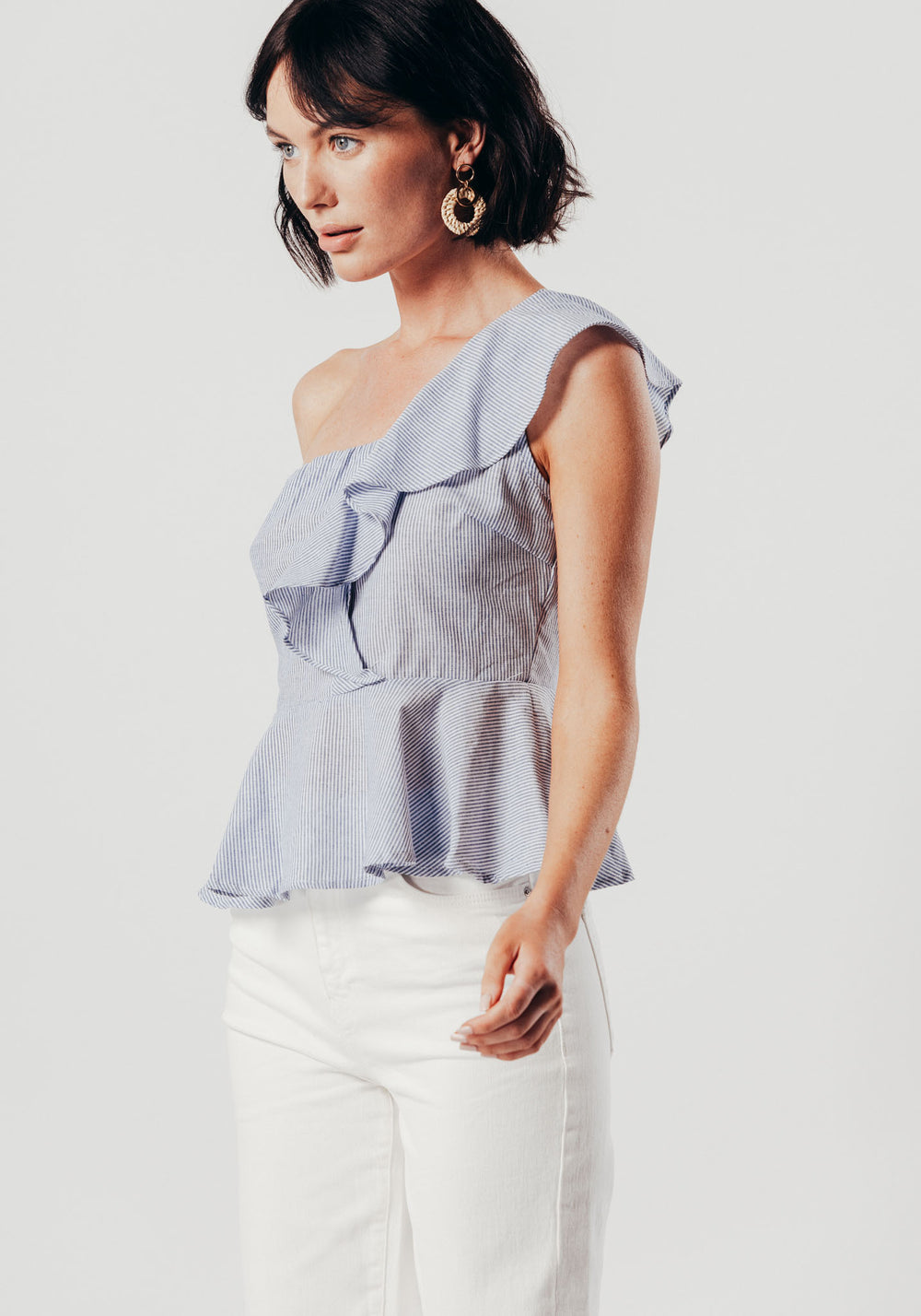 Blue One Sleeved Top With Peplum Detail