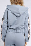 Drop Shoulder Zip Up Drawstring Hoodie Tracksuit