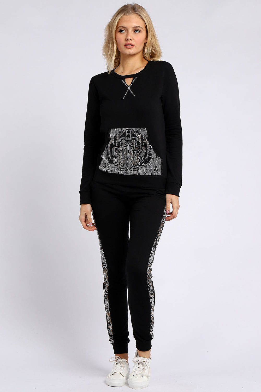 Rhinestone Tiger Graphic Pullover & Joggers Set