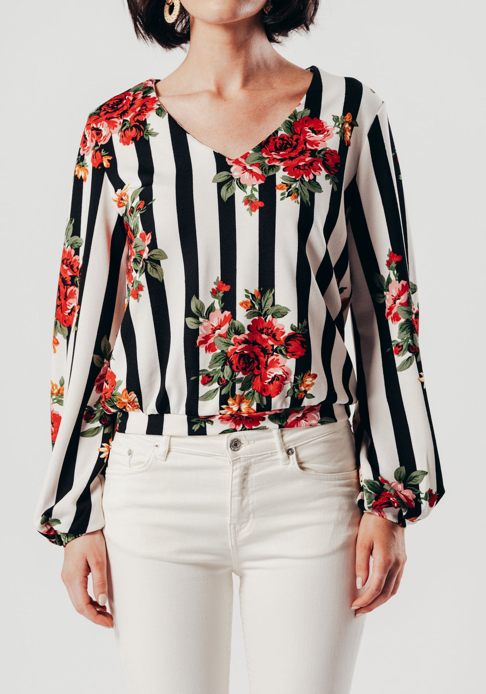 White Floral Striped Blouse