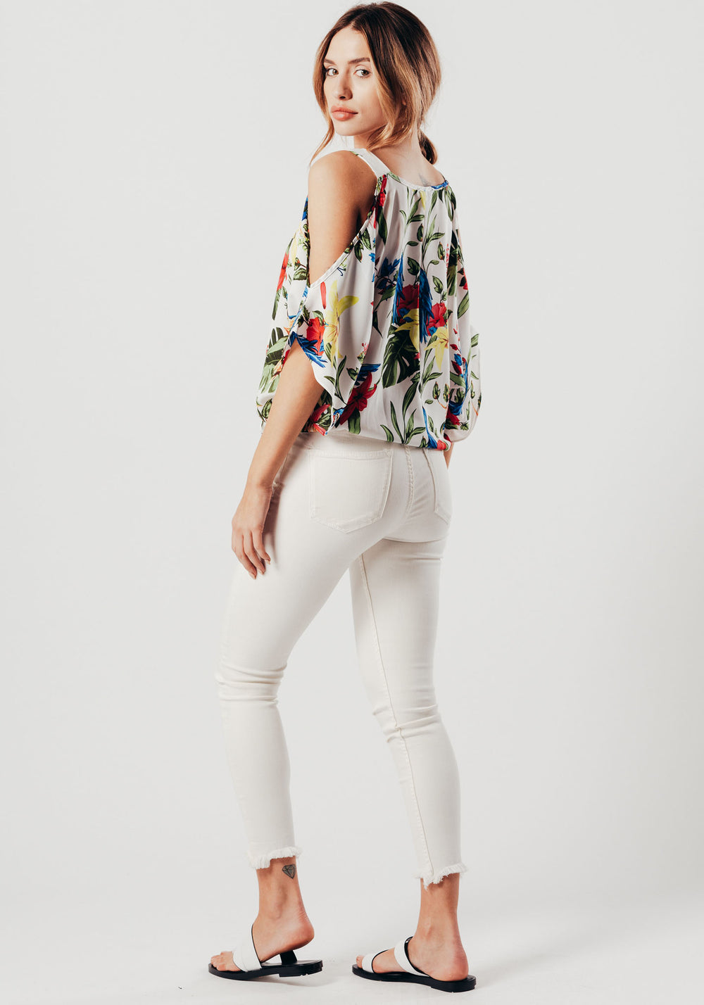 White Floral Cold Shoulder Top