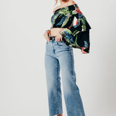 Black Floral Print Off The Shoulder Crop Top With Bell Sleeves