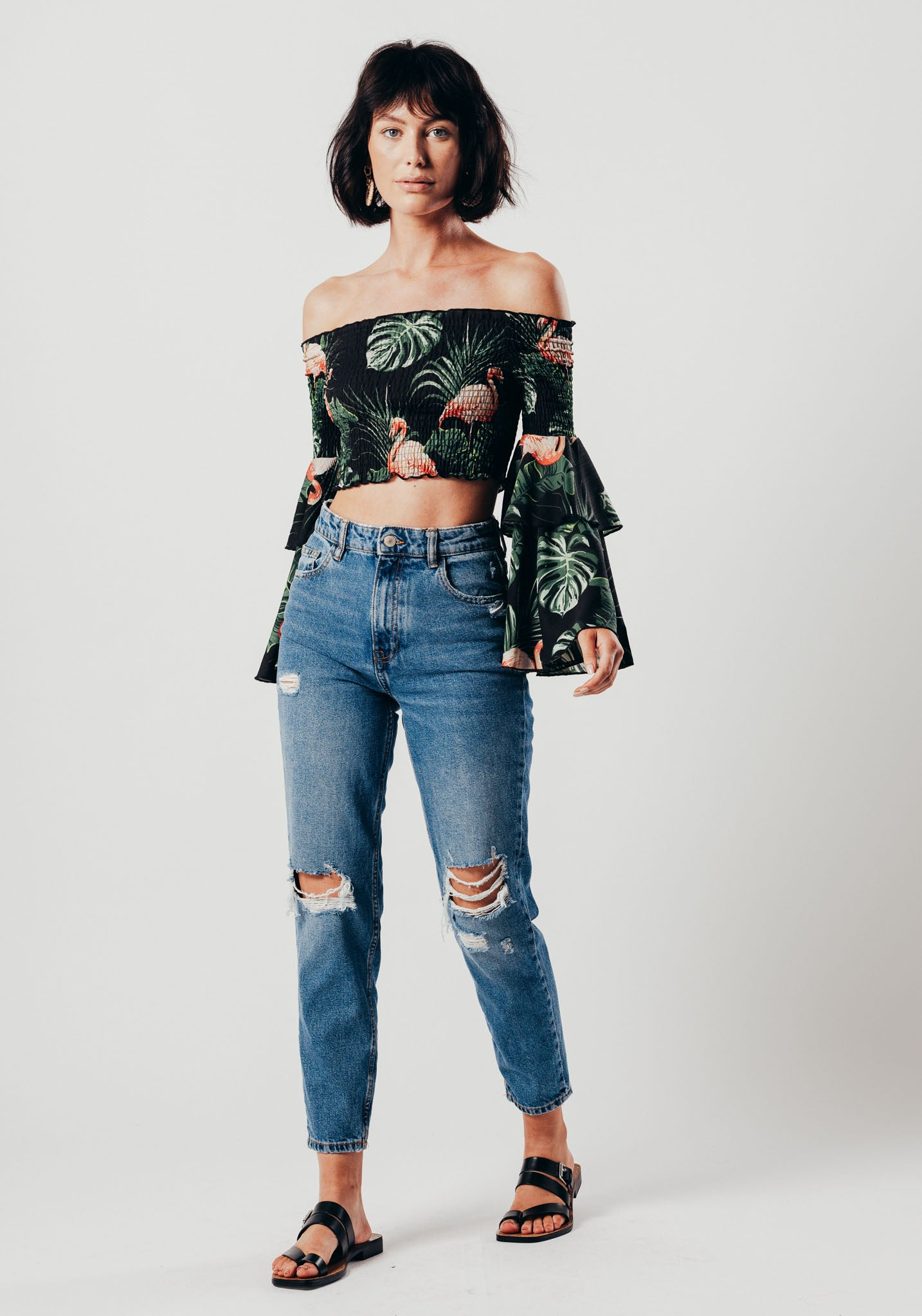0fe261a19122 Black Flamingo Print Off The Shoulder Crop Top With Bell Sleeves