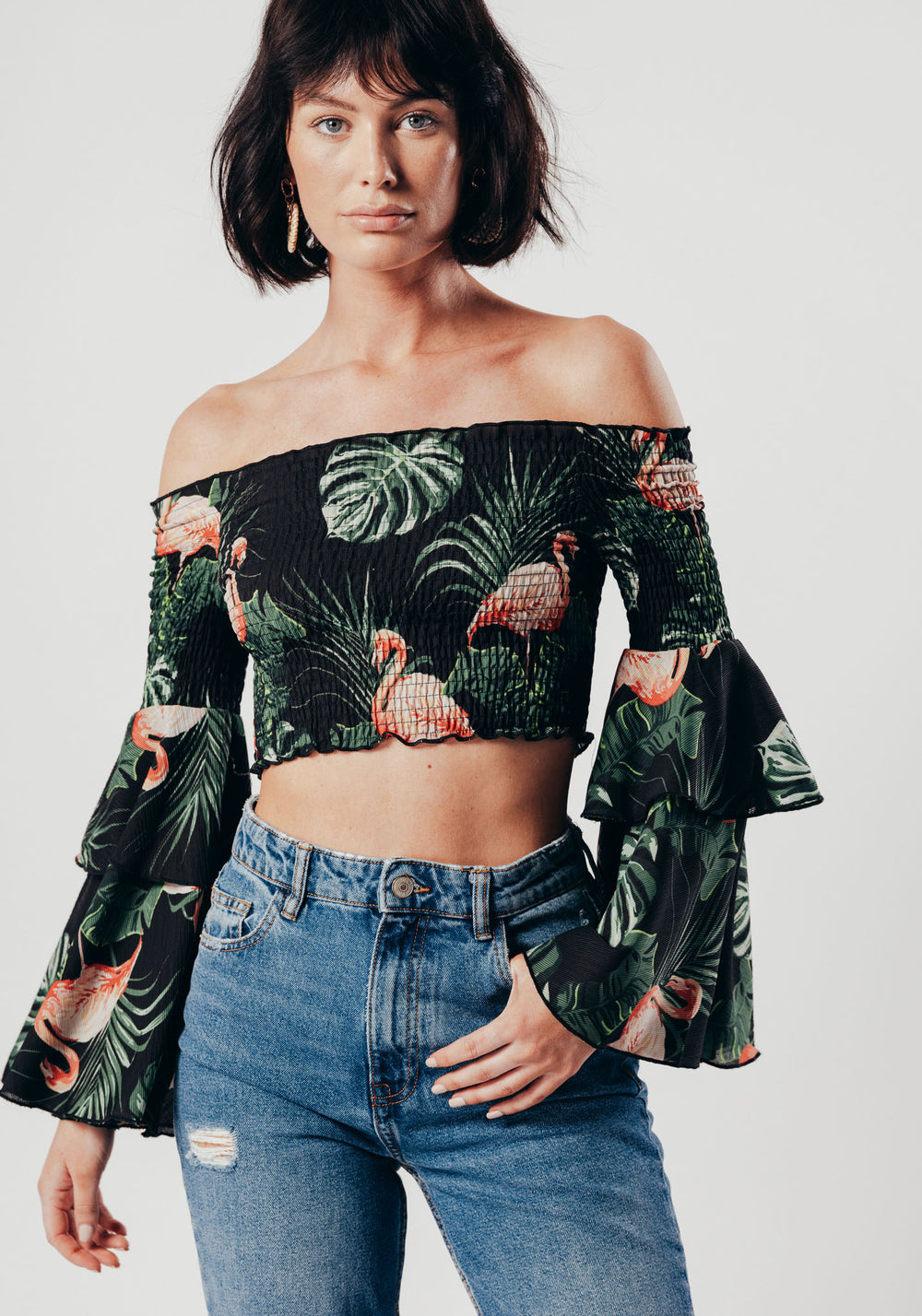 Black Flamingo Print Off The Shoulder Crop Top With Bell Sleeves