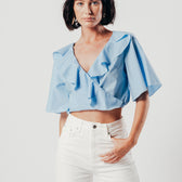 Blue Ruffle Neckline Crop Top