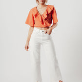 Orange Ruffle Neckline Crop Top