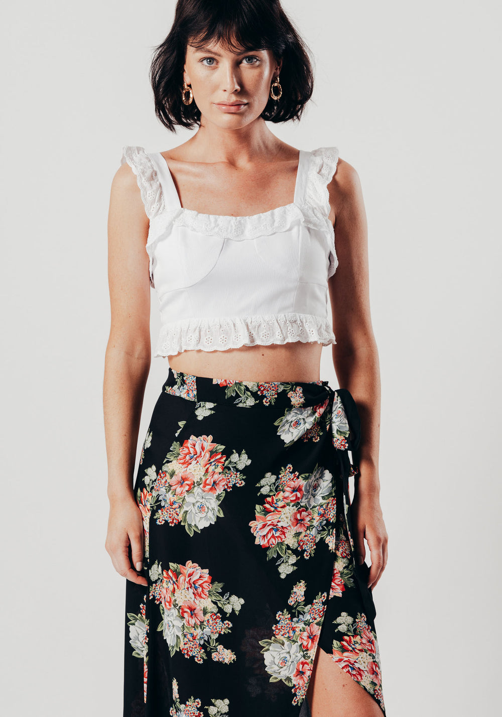 White Crop Top With Broderie Detailed