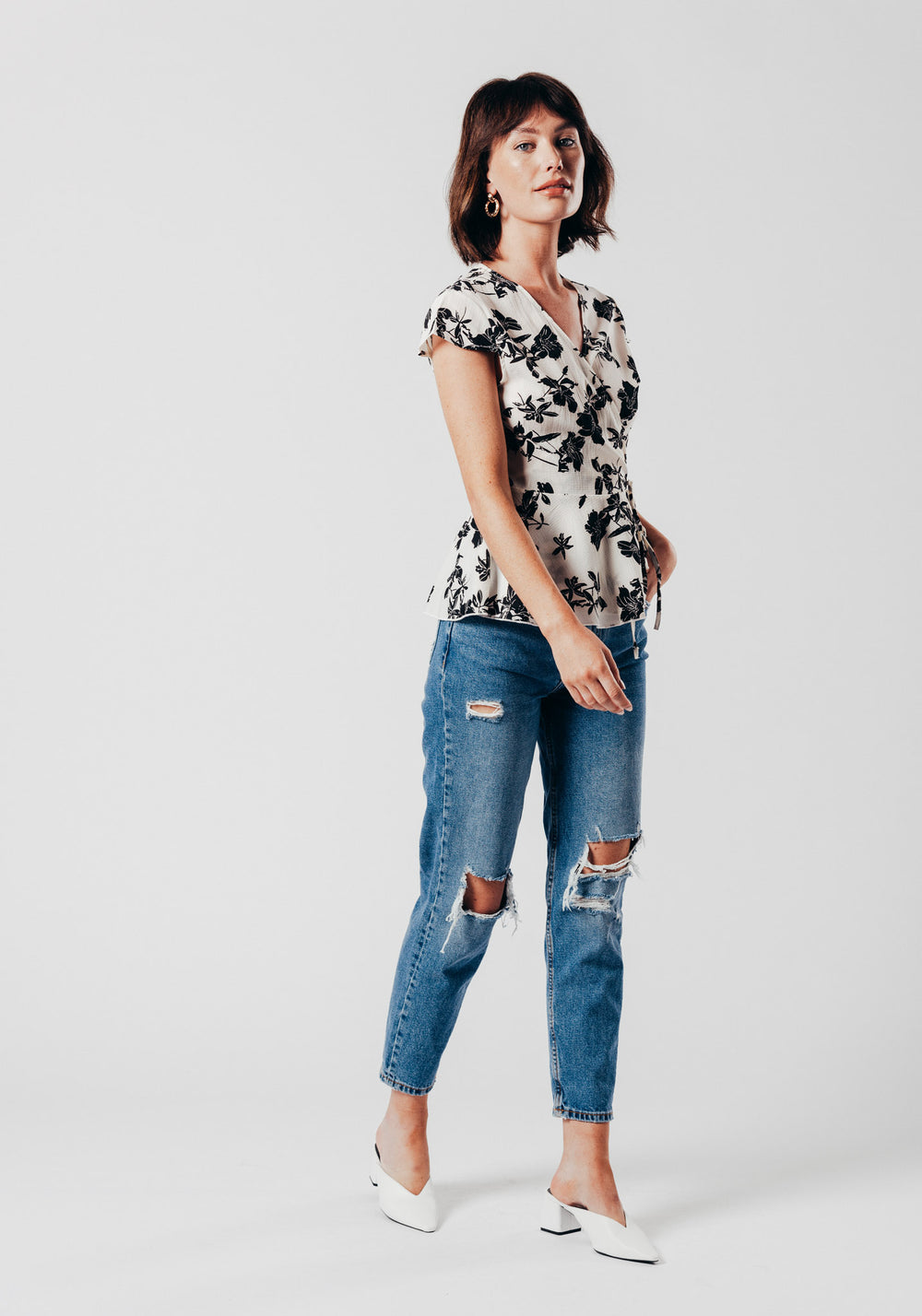 White Wrap Over Top with Black Floral Print