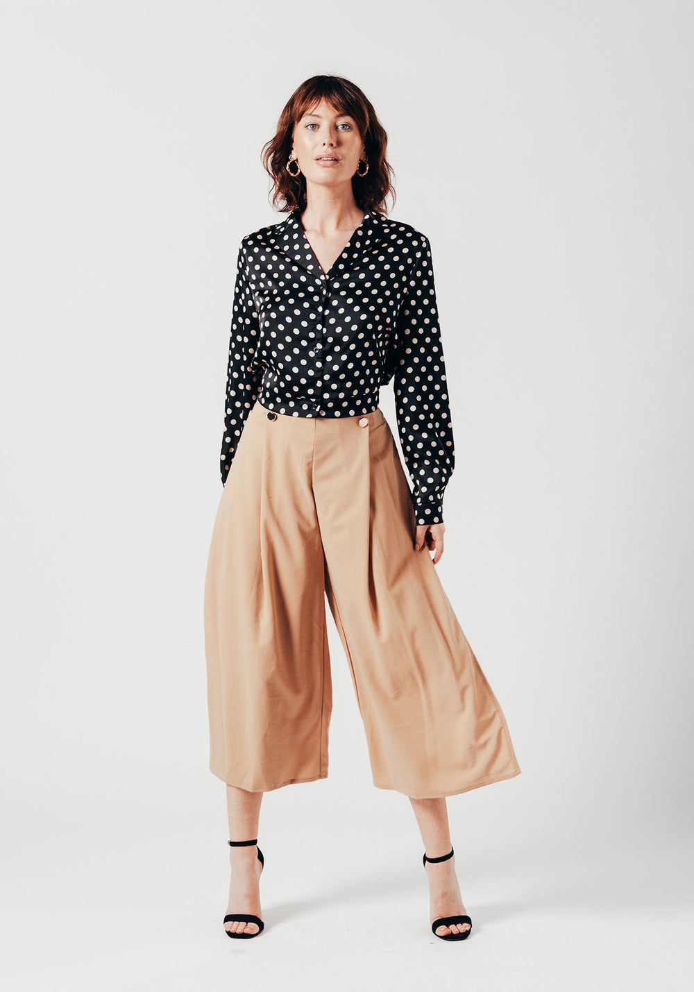 Satin Black Polka Dot Cropped Shirt
