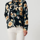 Black Floral Ruffle Front Blouse