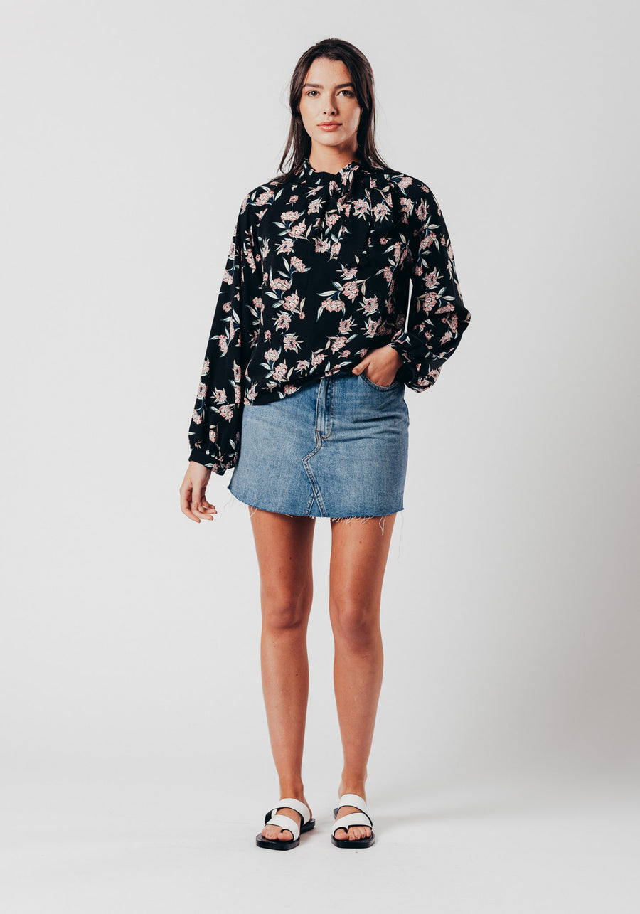 Black Floral Shoulder Bow Top