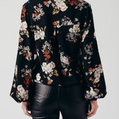 Black Floral Cross-Over Top