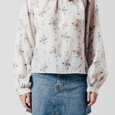 White Floral Print Top with Shoulder tie detail