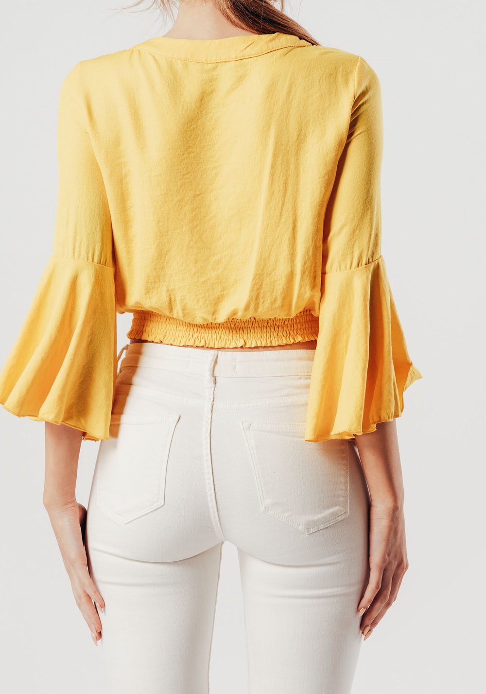 Yellow Wrap Over Style Blouse With Bell Sleeves