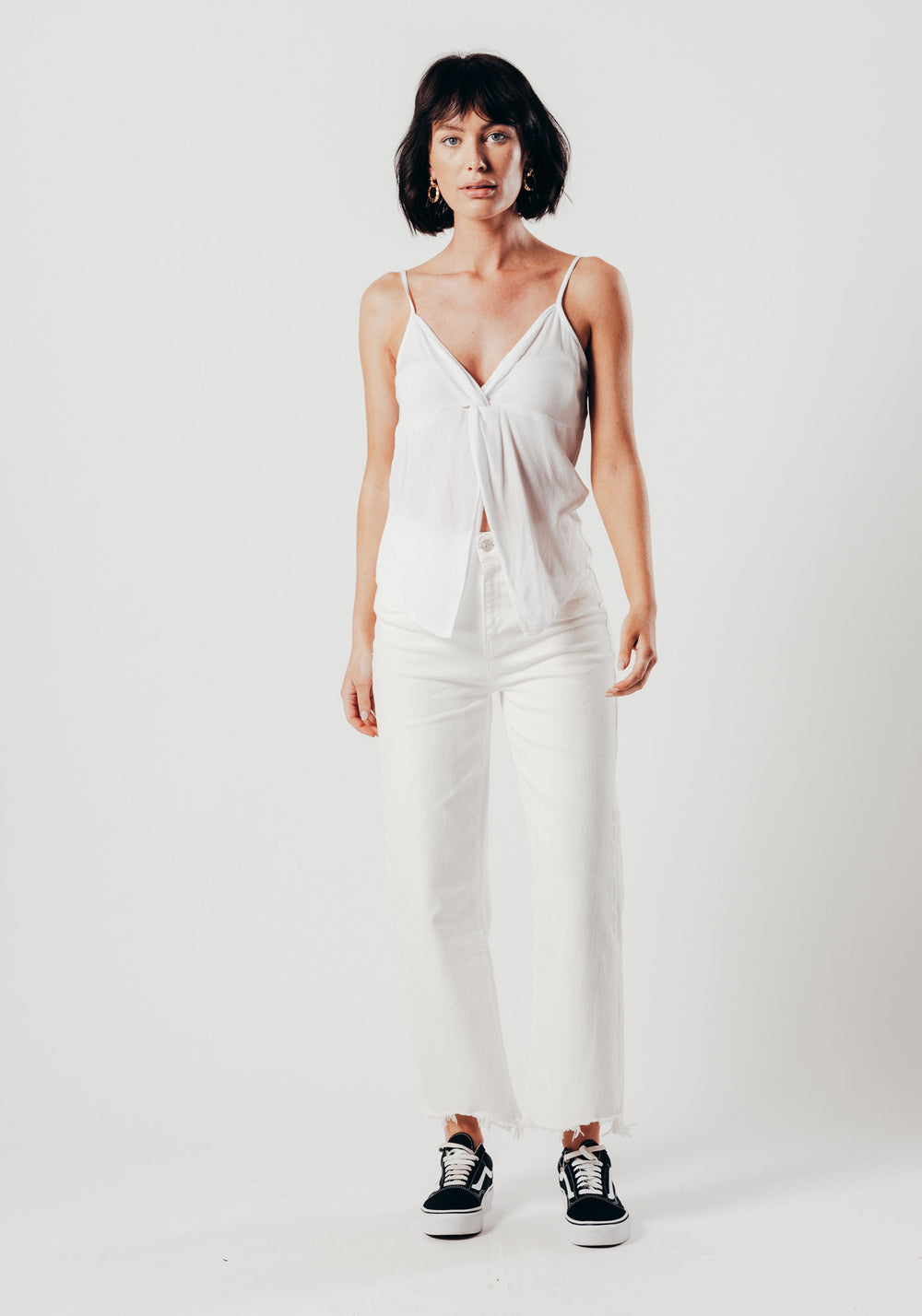 White Twist Front Top