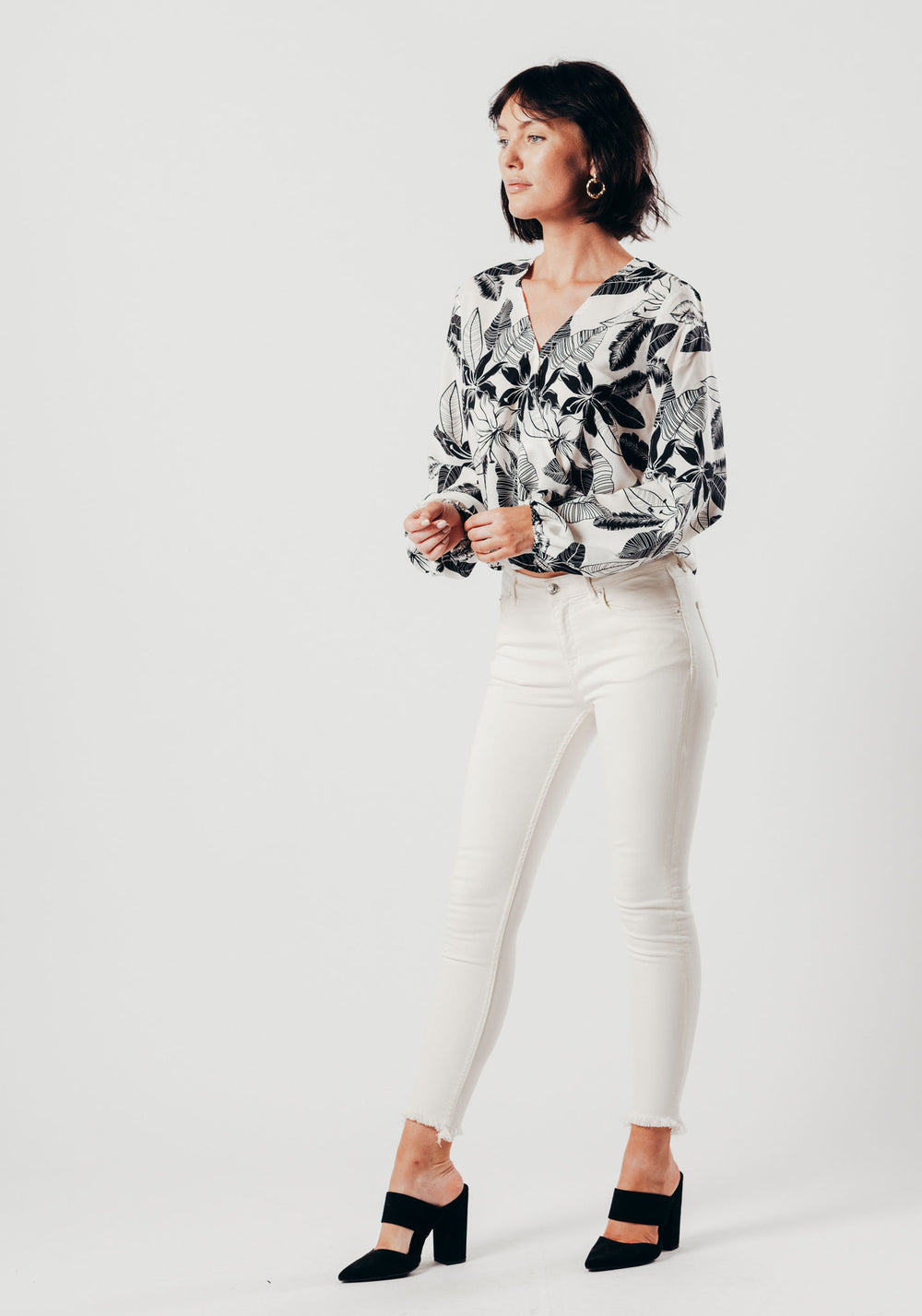Black and White Floral Cross-Over Top
