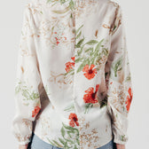V Neck Zip Top in White Floral Print