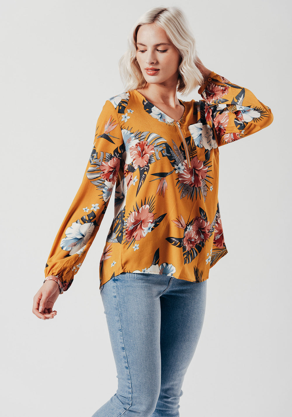 V Neck Zip Top in Yellow Floral Print