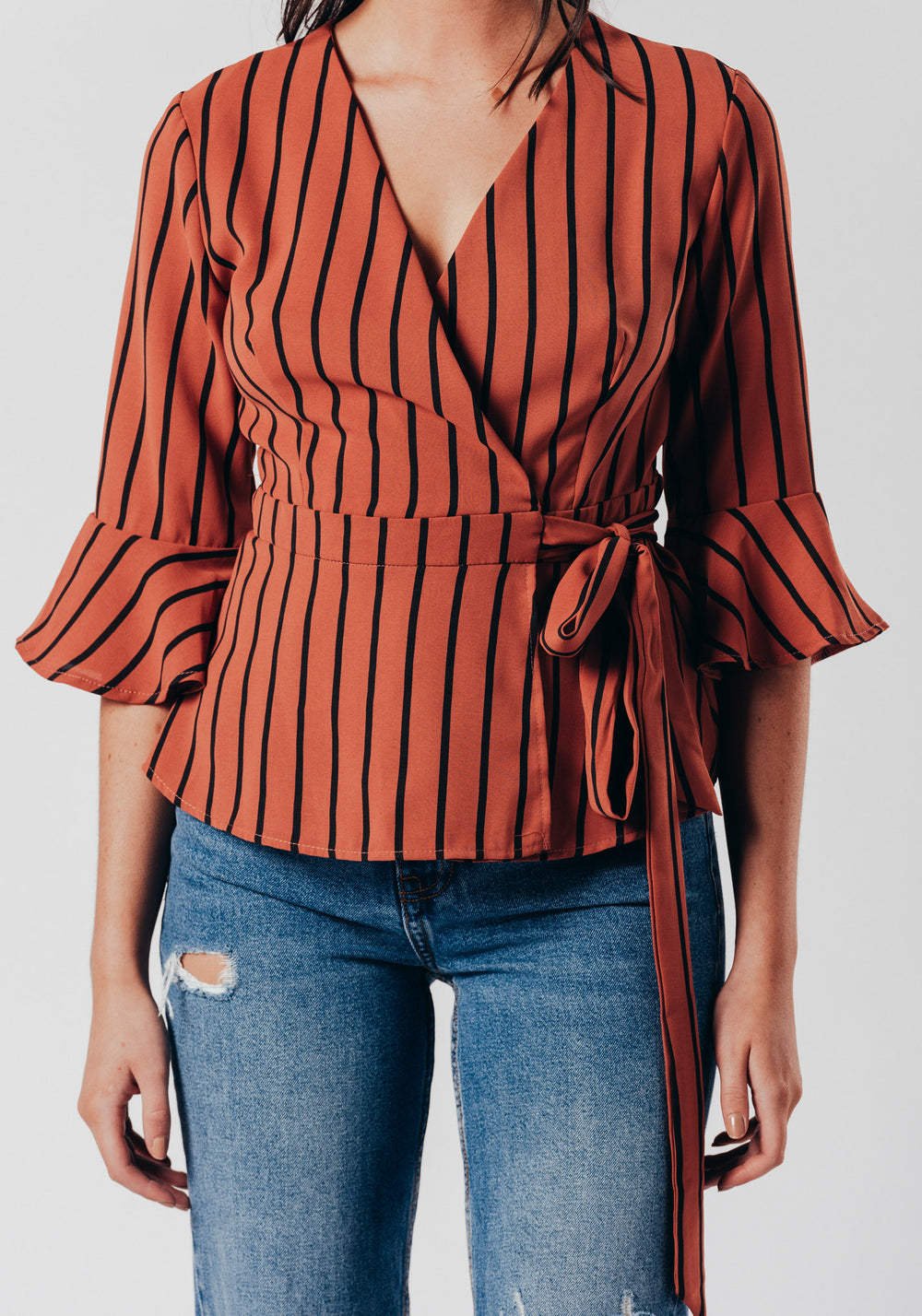 Red Stripe Wrap Over Top