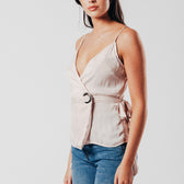 Pink O-Ring Wrap Over Vest Top