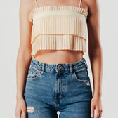 Apricot Pleated Crop Top