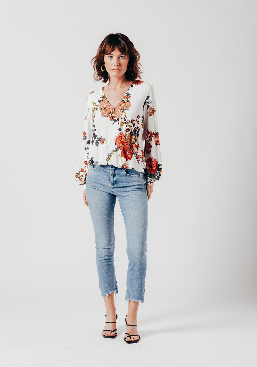White Floral Cross-Over Top