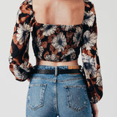 Buttoned crop top with long sleeves in brown floral