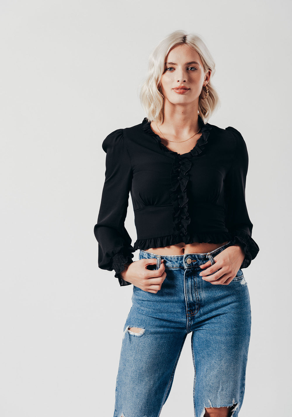 Long Blossom Sleeve Top in Black