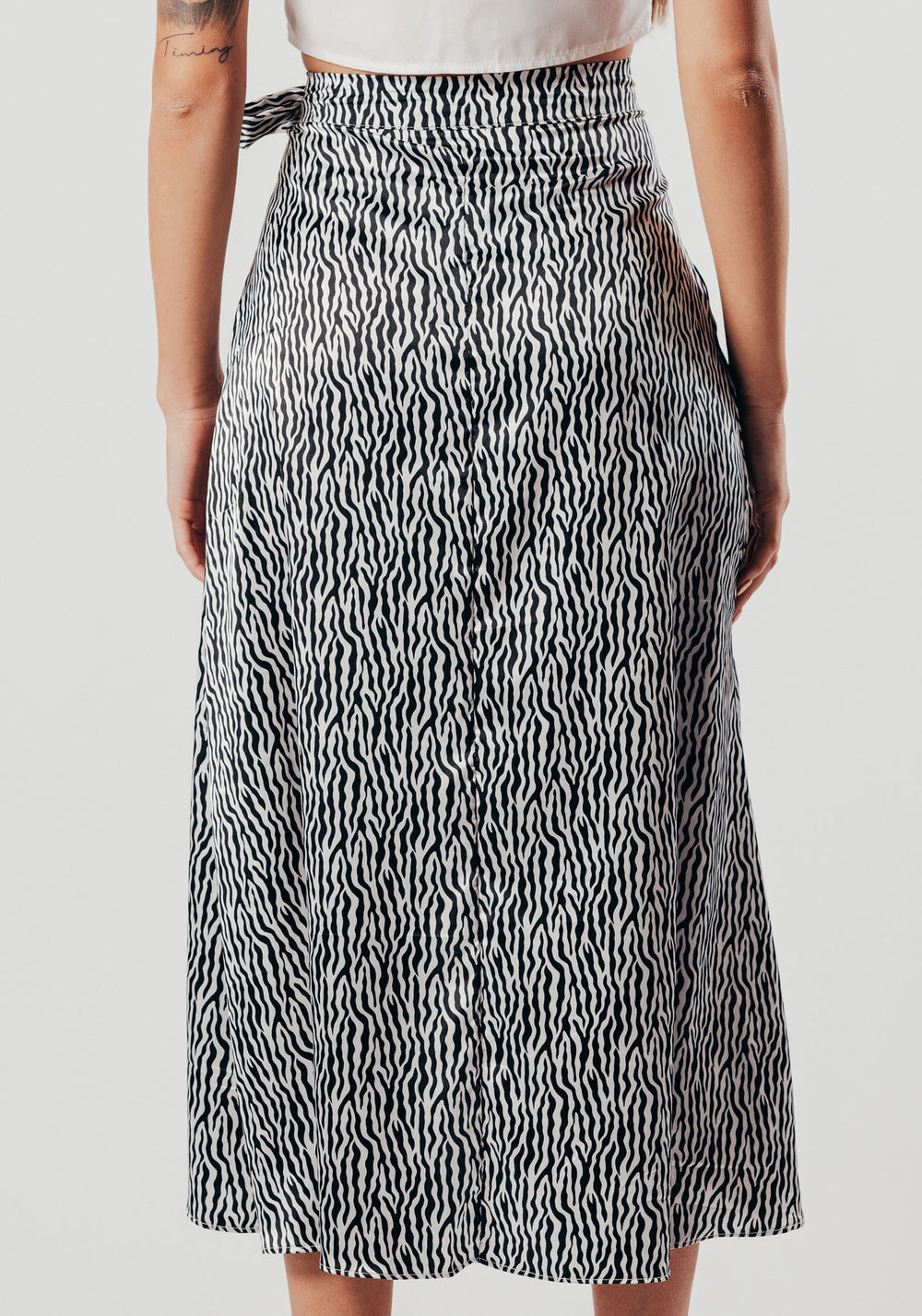 Black And White Tiger Print Wrap Skirt