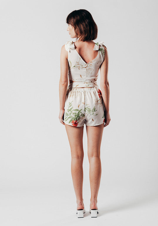 White Floral Print Co-ord with Shoulder and front tie detail