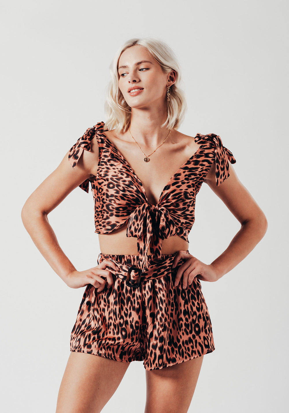 Pink Leopard Print Co-ord with Tie Top and Shorts