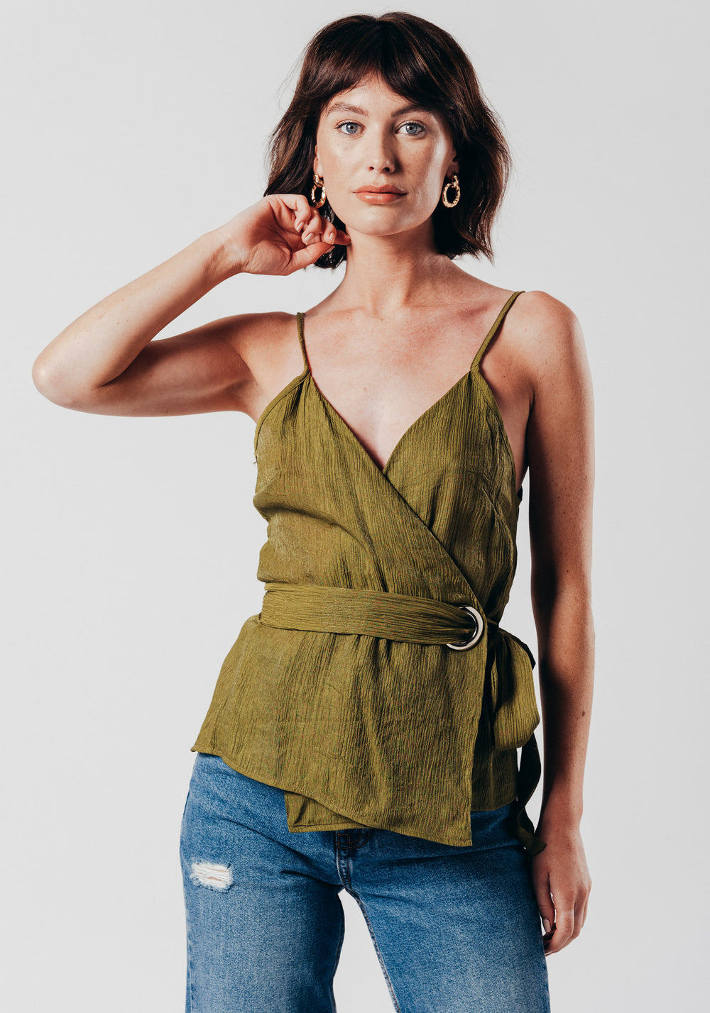 Khaki O-Ring Wrap Over Vest