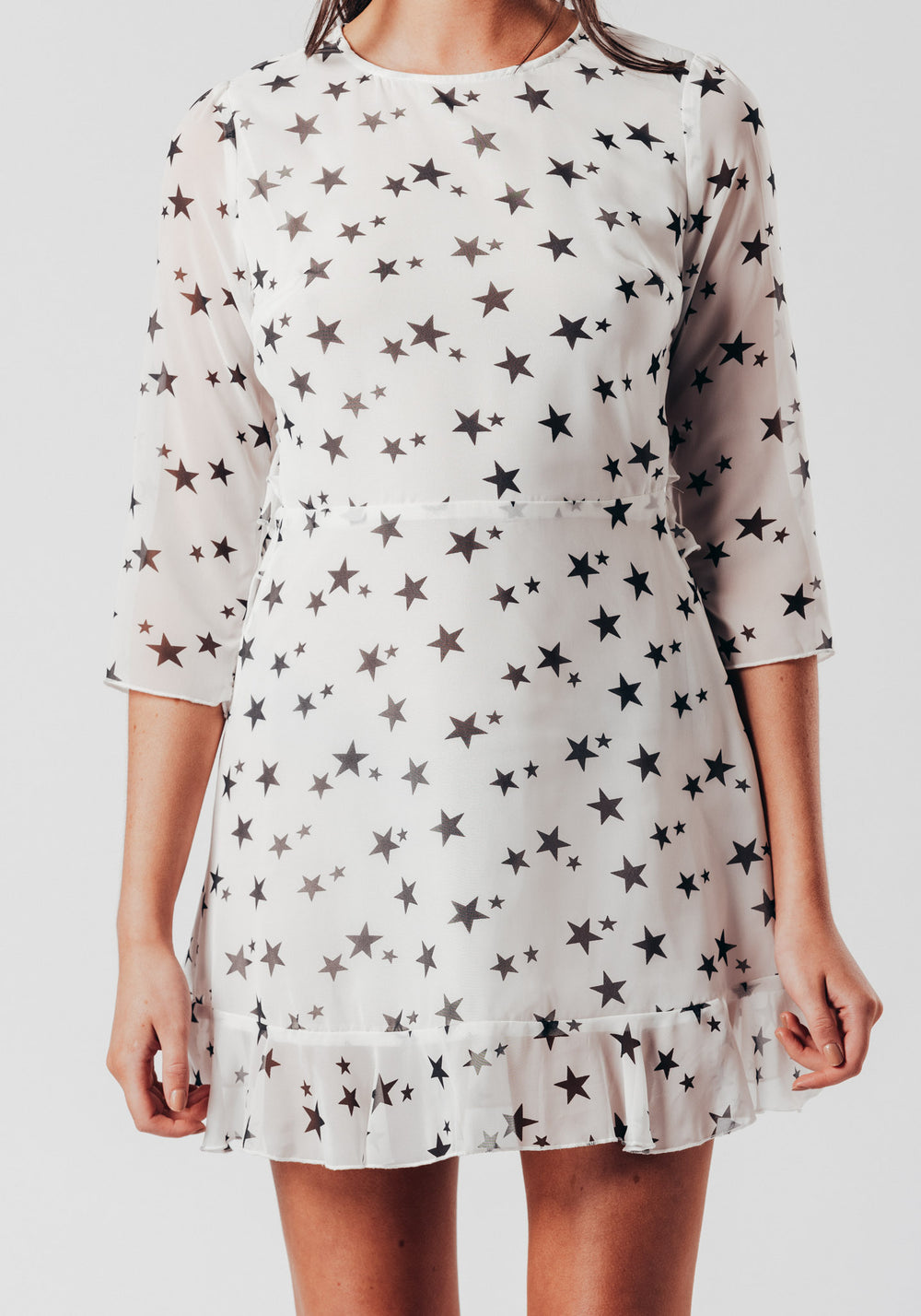 Star Print Open Back Mini Dress