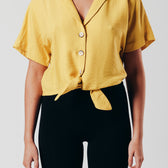 Boxy Tie Front Top in Yellow