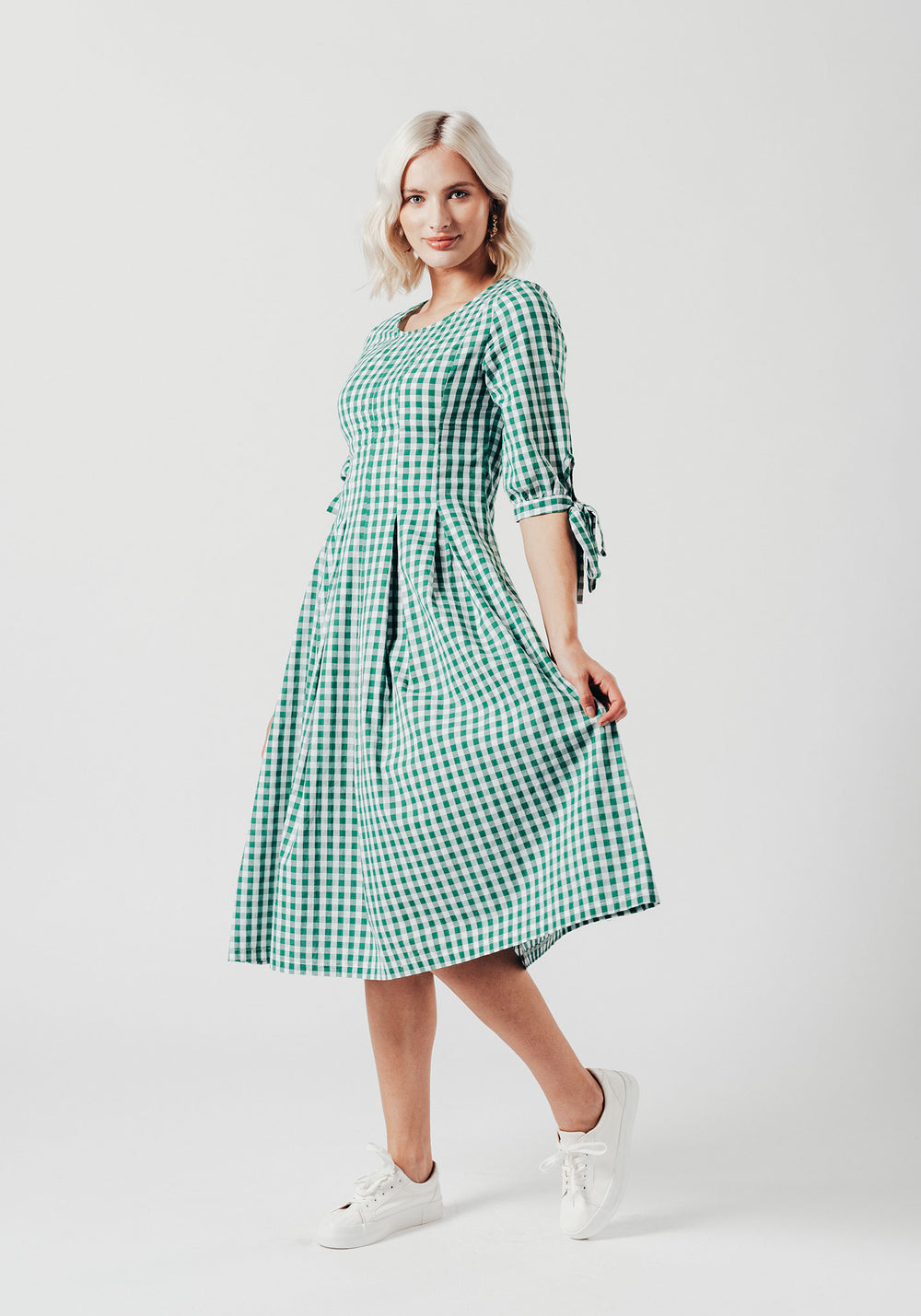 Green Check Pleated Midi dress