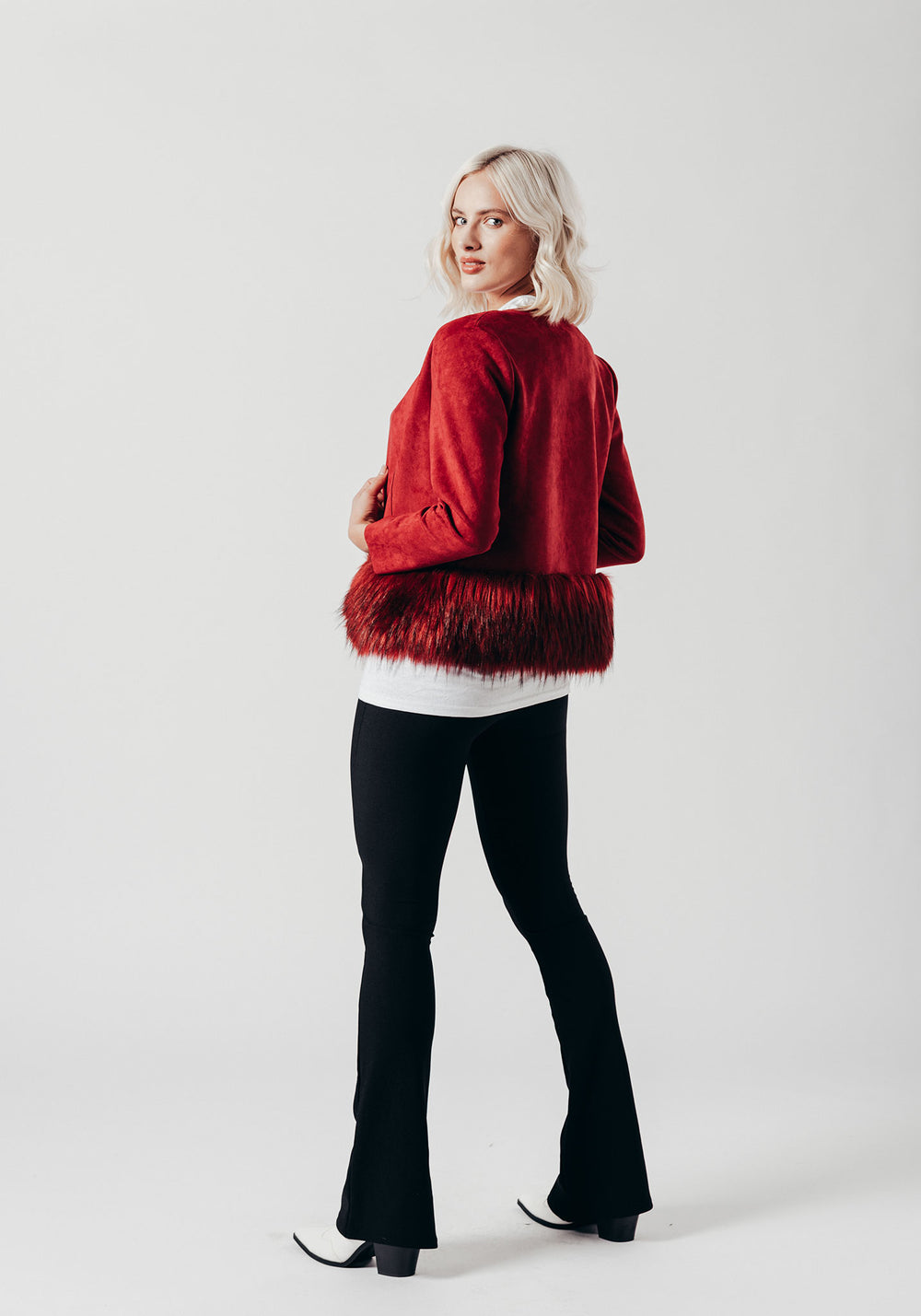 Red Faux Suede Jacket with Faux Fur Trim