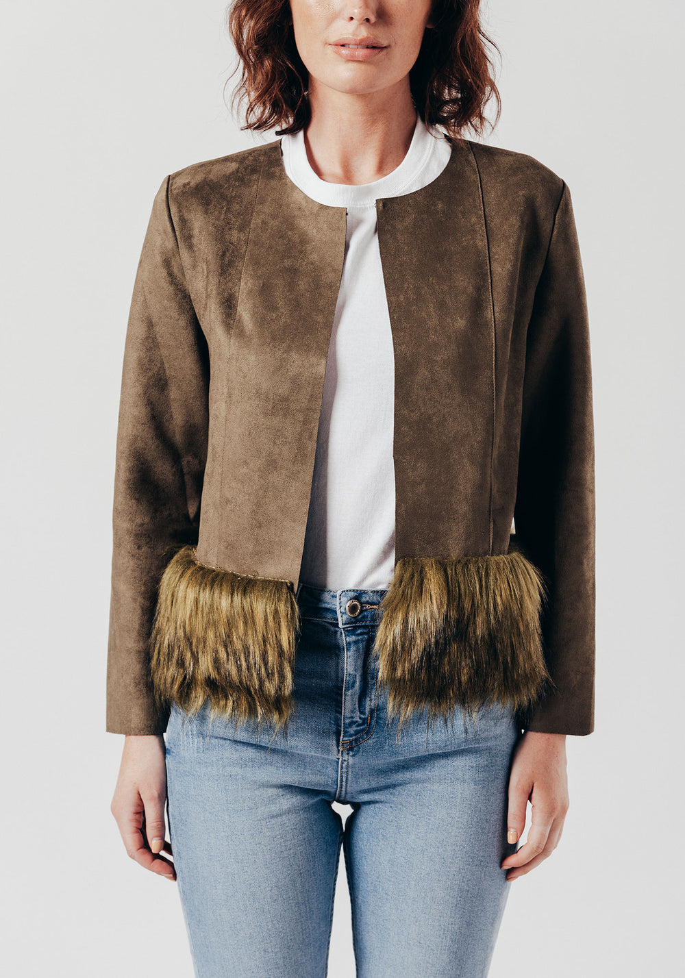 Green Faux Suede Jacket with Faux Fur Trim