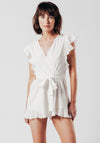 White Playsuit With Belt Tie