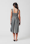 Shirred Midi Dress in Black and White Stripe