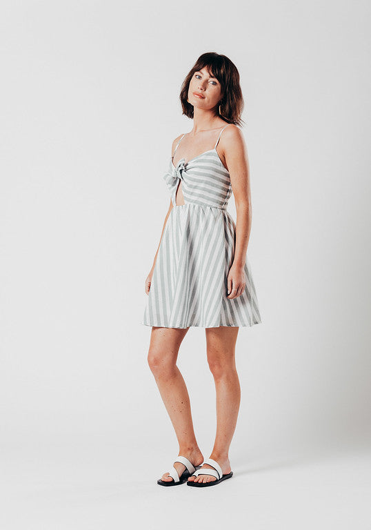 Linen Striped Tie Front Mini Dress