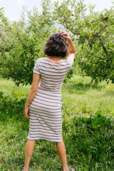 Striped Drawstring T-Shirt Dress