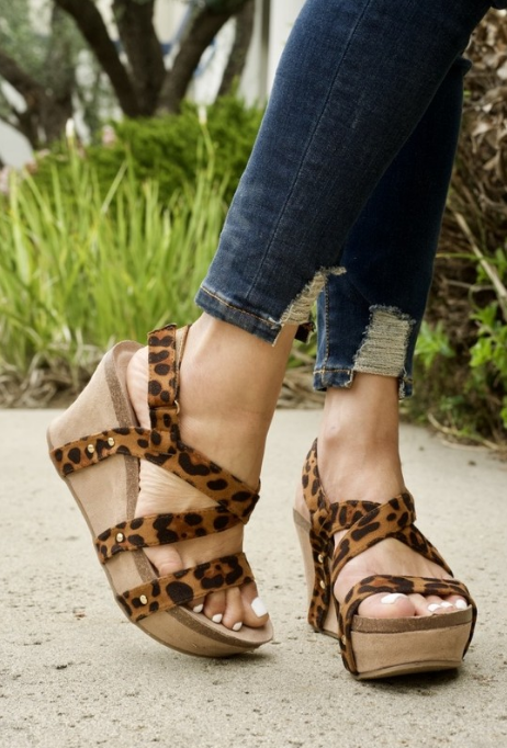 Leopard Strappy Wedge