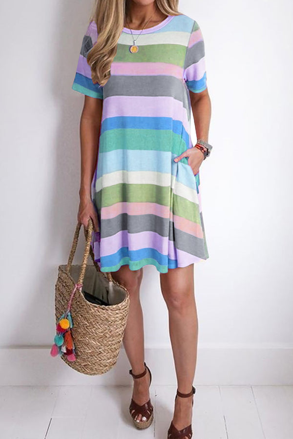 Sunny Skies Ahead Striped Tshirt Dress