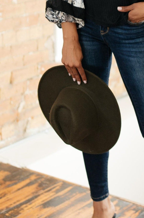 Felicity Flat Brim Hat In Olive