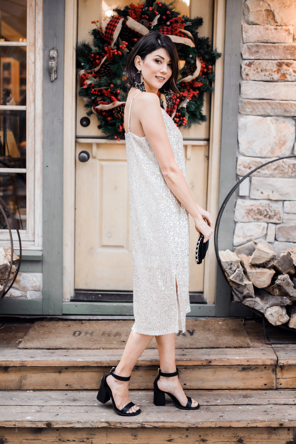 Champagne + Caviar Sequin Slip Dress